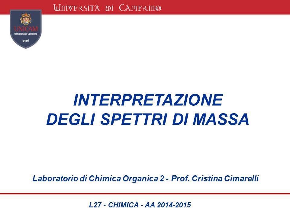 INTERPRETAZIONE DEGLI SPETTRI DI MASSA Laboratorio di Chimica Organica 2 - Prof. Cristina Cimarelli L27 - CHIMICA - AA 2014-2015