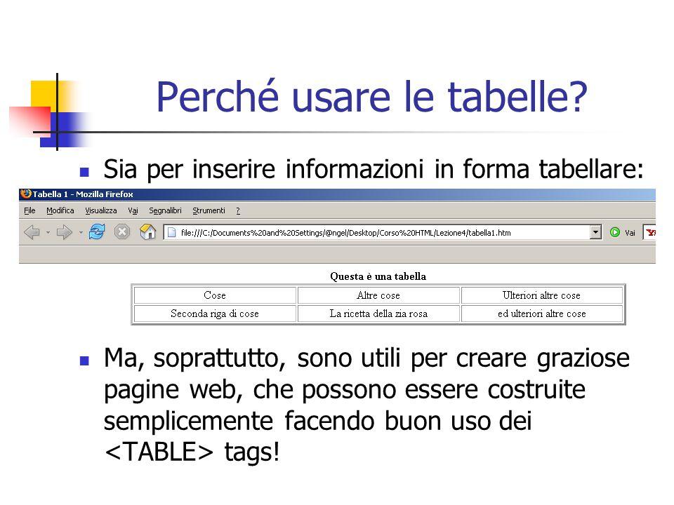 Perché usare le tabelle? Sia per inserire informazioni in forma tabellare: Ma, soprattutto, sono utili per creare graziose pagine web, che possono ess
