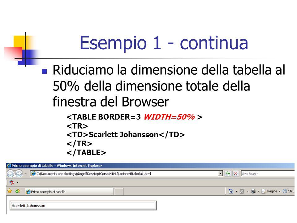 Esempio 1 - continua Riduciamo la dimensione della tabella al 50% della dimensione totale della finestra del Browser Scarlett Johansson