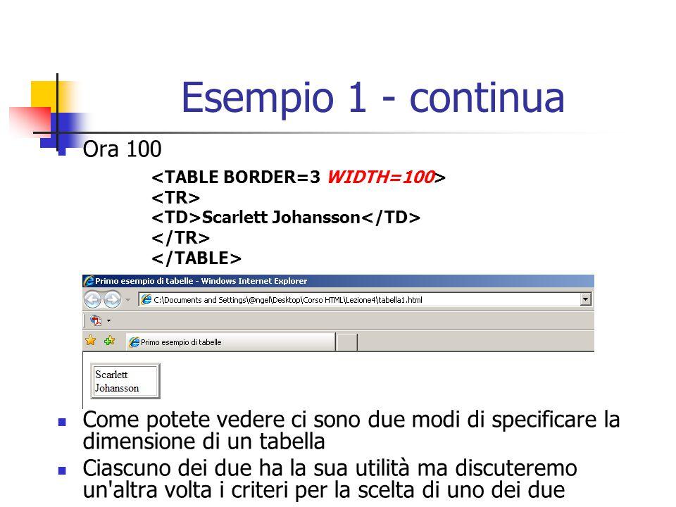 Esempio 1 - continua Ora 100 Come potete vedere ci sono due modi di specificare la dimensione di un tabella Ciascuno dei due ha la sua utilità ma disc