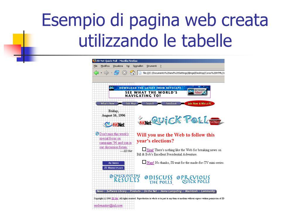 La stessa pagina con uno sfondo grigio e i bordi della tabella evidenziati