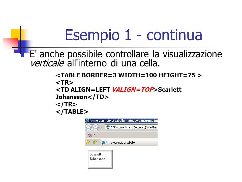 Esempio 1 - continua E' anche possibile controllare la visualizzazione verticale all'interno di una cella. Scarlett Johansson