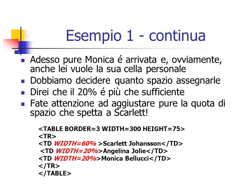 Esempio 1 - continua Adesso pure Monica é arrivata e, ovviamente, anche lei vuole la sua cella personale Dobbiamo decidere quanto spazio assegnarle Di