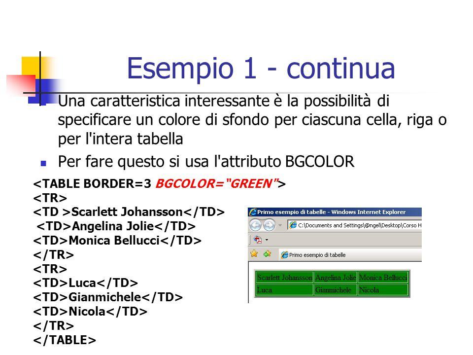Esempio 1 - continua Una caratteristica interessante è la possibilità di specificare un colore di sfondo per ciascuna cella, riga o per l'intera tabel
