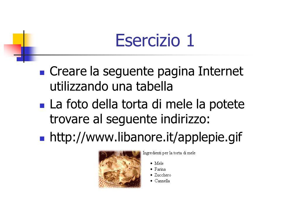 Esercizio 1 Creare la seguente pagina Internet utilizzando una tabella La foto della torta di mele la potete trovare al seguente indirizzo: http://www