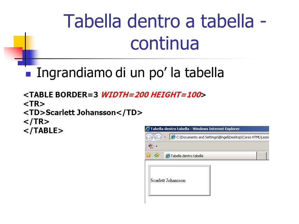 Tabella dentro a tabella - continua Ingrandiamo di un po' la tabella Scarlett Johansson