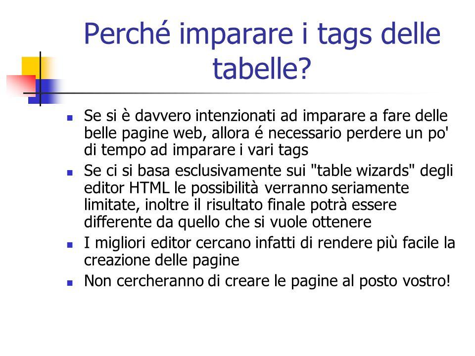 Perché imparare i tags delle tabelle? Se si è davvero intenzionati ad imparare a fare delle belle pagine web, allora é necessario perdere un po' di te