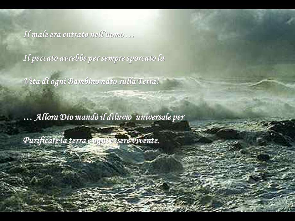 Il male era entrato nell'uomo … Il peccato avrebbe per sempre sporcato la Vita di ogni Bambino nato sulla Terra! … Allora Dio mandò il diluvio univers