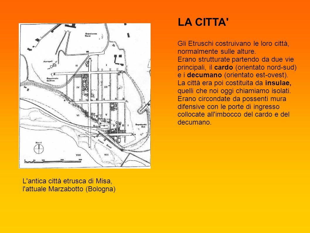 L'antica città etrusca di Misa, l'attuale Marzabotto (Bologna) Gli Etruschi costruivano le loro città, normalmente sulle alture. Erano strutturate par