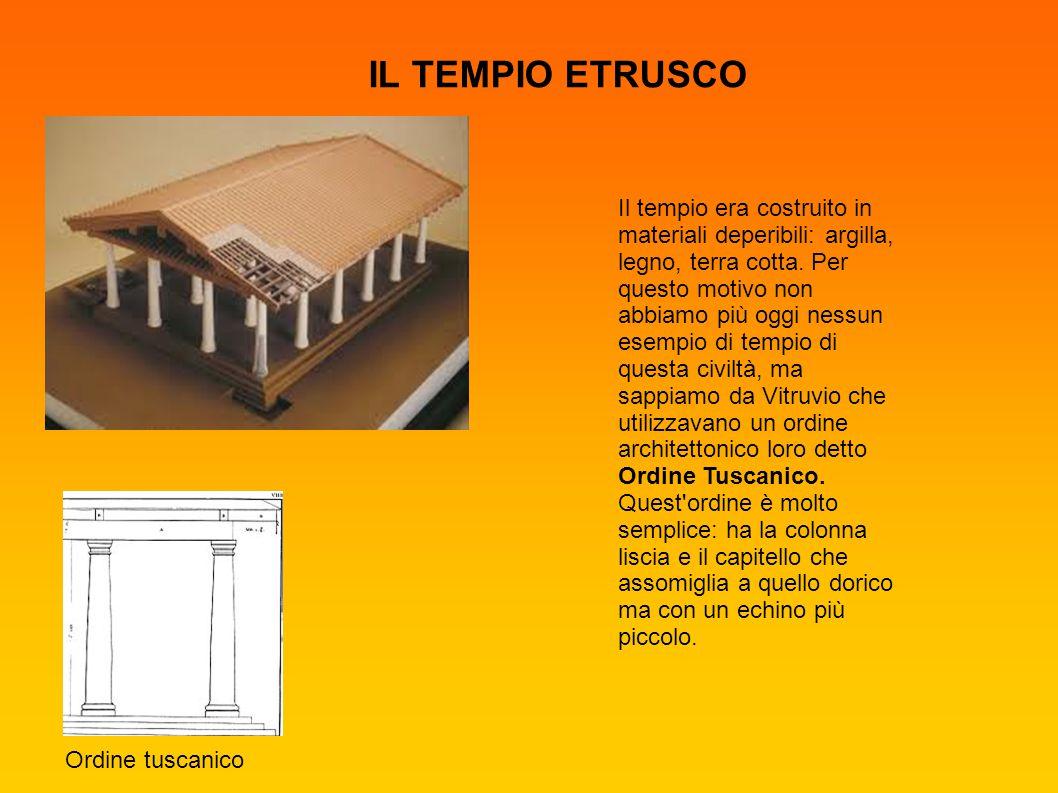 IL TEMPIO ETRUSCO Il tempio era costruito in materiali deperibili: argilla, legno, terra cotta. Per questo motivo non abbiamo più oggi nessun esempio