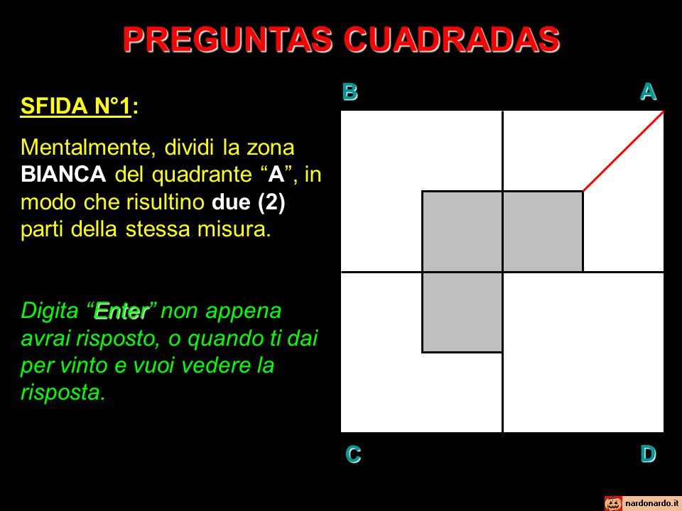 """PREGUNTAS CUADRADAS BAD C SFIDA N°1: Mentalmente, dividi la zona BIANCA del quadrante """"A"""", in modo che risultino due (2) parti della stessa misura. En"""