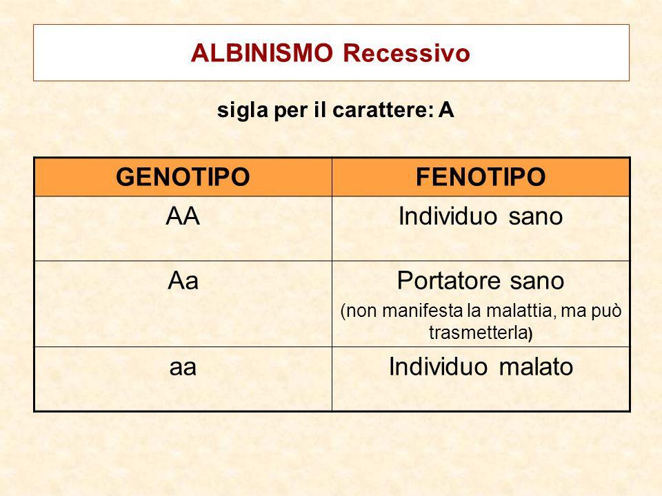 ALBINISMO Recessivo GENOTIPOFENOTIPO AAIndividuo sano AaPortatore sano (non manifesta la malattia, ma può trasmetterla ) aaIndividuo malato sigla per
