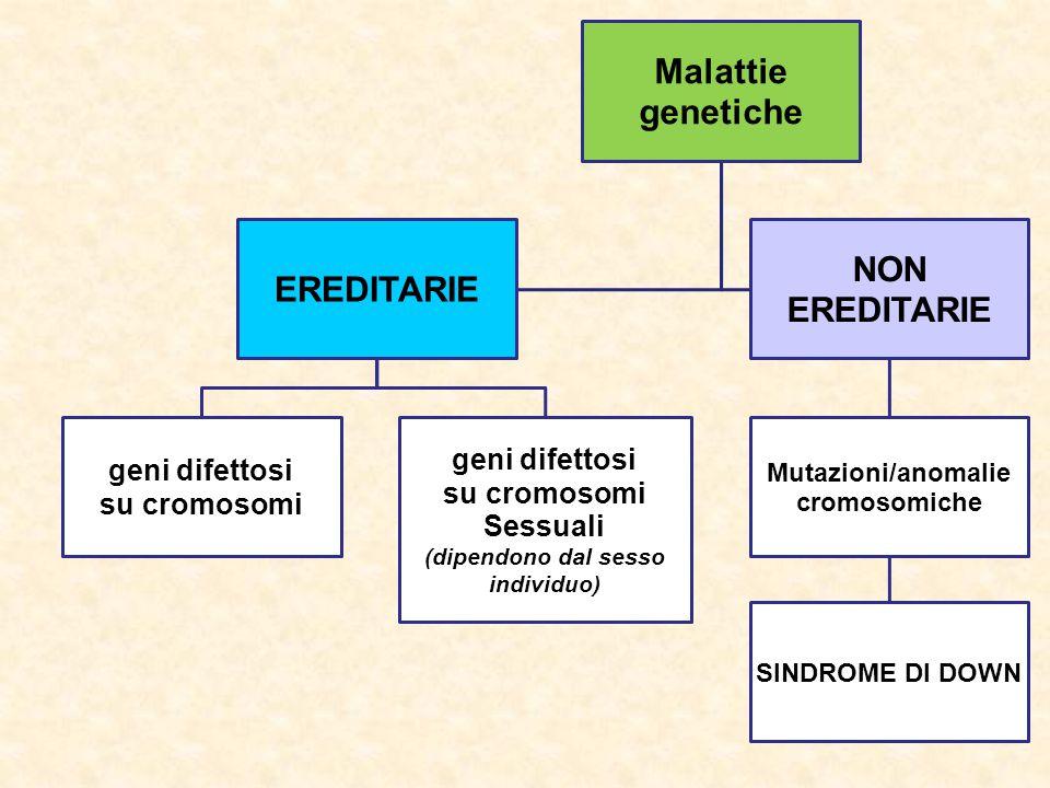 Malattie genetiche EREDITARIE geni difettosi su cromosomi geni difettosi su cromosomi Sessuali (dipendono dal sesso individuo) NON EREDITARIE Mutazion