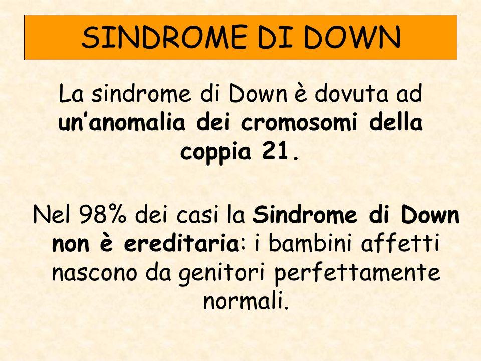 SINDROME DI DOWN La sindrome di Down è dovuta ad un'anomalia dei cromosomi della coppia 21. Nel 98% dei casi la Sindrome di Down non è ereditaria: i b