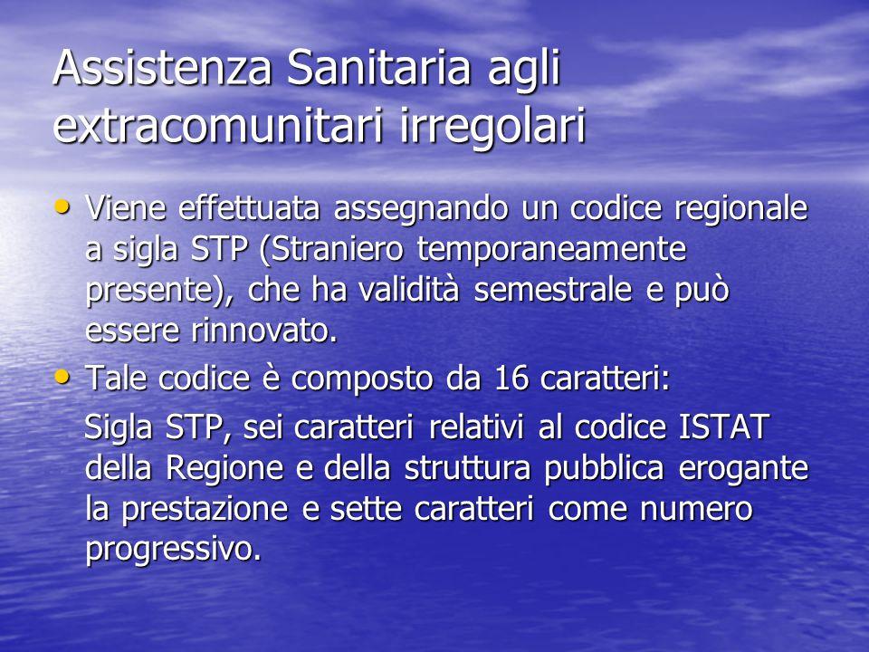 Assistenza Sanitaria agli extracomunitari irregolari Viene effettuata assegnando un codice regionale a sigla STP (Straniero temporaneamente presente), che ha validità semestrale e può essere rinnovato.