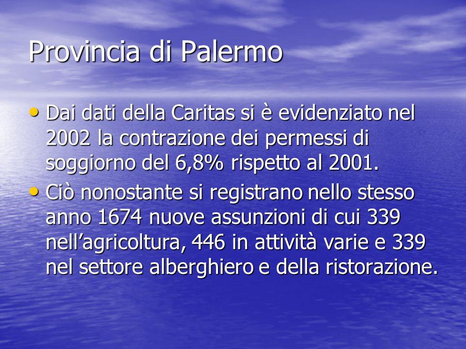 Provincia di Palermo Dai dati della Caritas si è evidenziato nel 2002 la contrazione dei permessi di soggiorno del 6,8% rispetto al 2001.