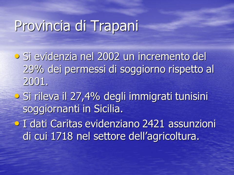 Provincia di Trapani Si evidenzia nel 2002 un incremento del 29% dei permessi di soggiorno rispetto al 2001.