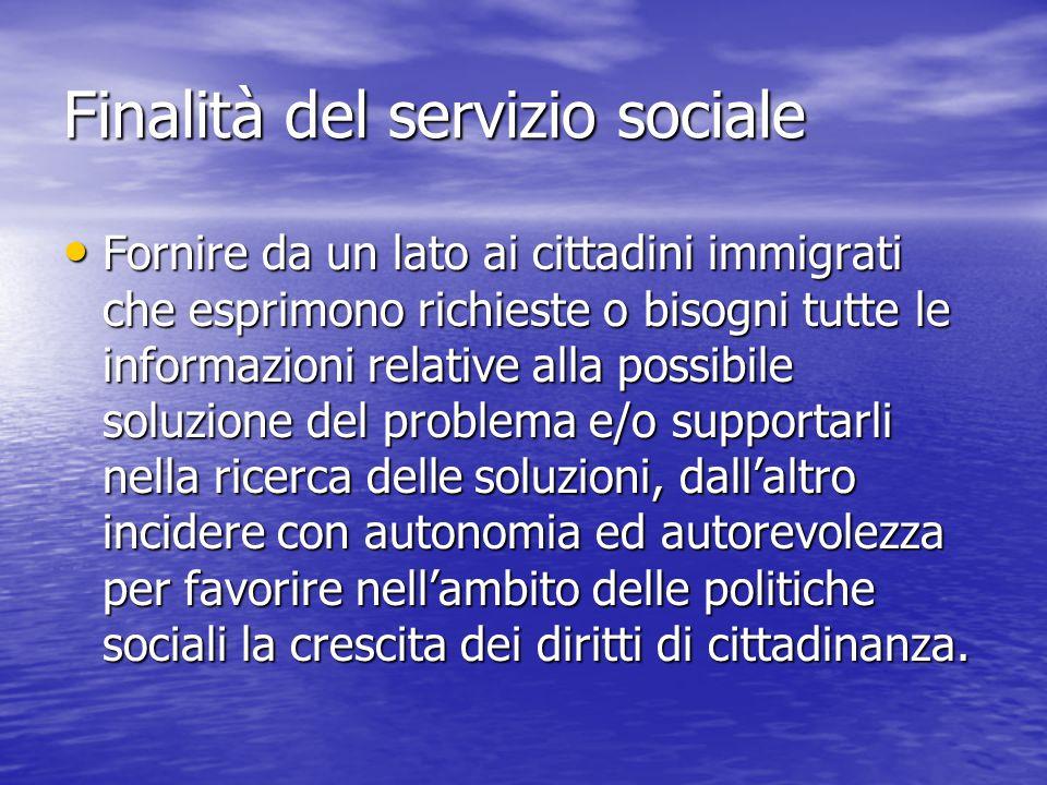 Finalità del servizio sociale Fornire da un lato ai cittadini immigrati che esprimono richieste o bisogni tutte le informazioni relative alla possibile soluzione del problema e/o supportarli nella ricerca delle soluzioni, dall'altro incidere con autonomia ed autorevolezza per favorire nell'ambito delle politiche sociali la crescita dei diritti di cittadinanza.