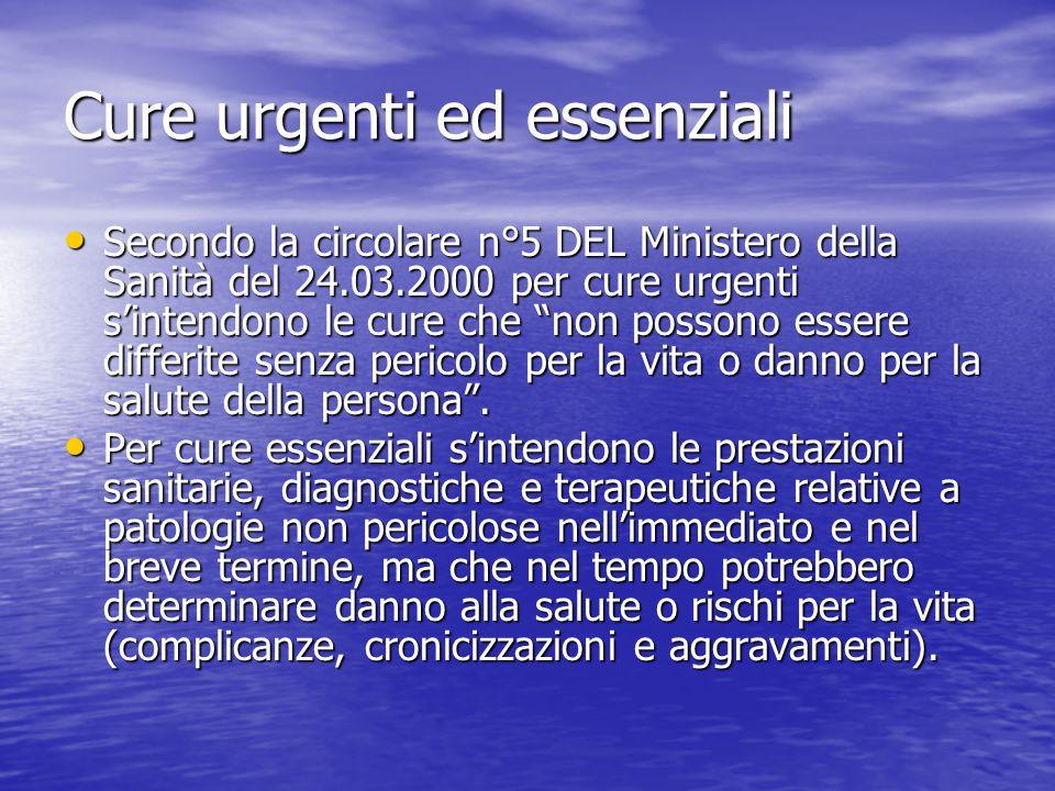 Cure urgenti ed essenziali Secondo la circolare n°5 DEL Ministero della Sanità del 24.03.2000 per cure urgenti s'intendono le cure che non possono essere differite senza pericolo per la vita o danno per la salute della persona .