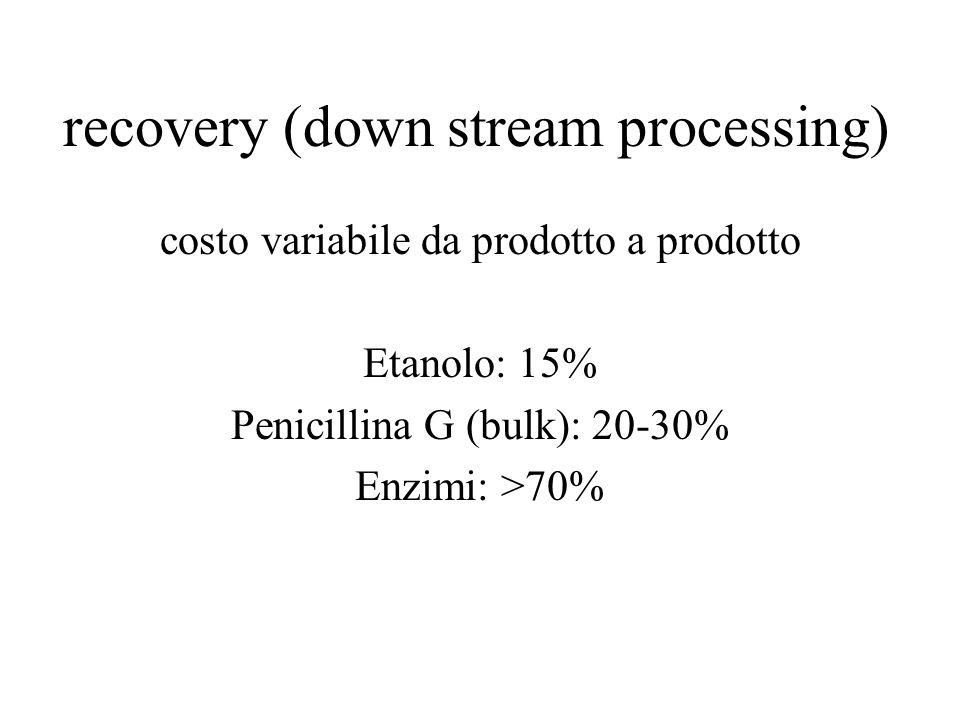 recovery (down stream processing) costo variabile da prodotto a prodotto Etanolo: 15% Penicillina G (bulk): 20-30% Enzimi: >70%