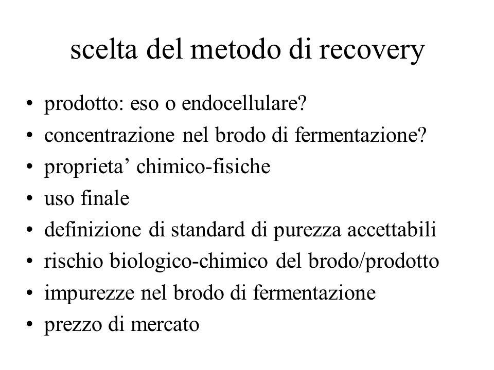 scelta del metodo di recovery prodotto: eso o endocellulare? concentrazione nel brodo di fermentazione? proprieta' chimico-fisiche uso finale definizi