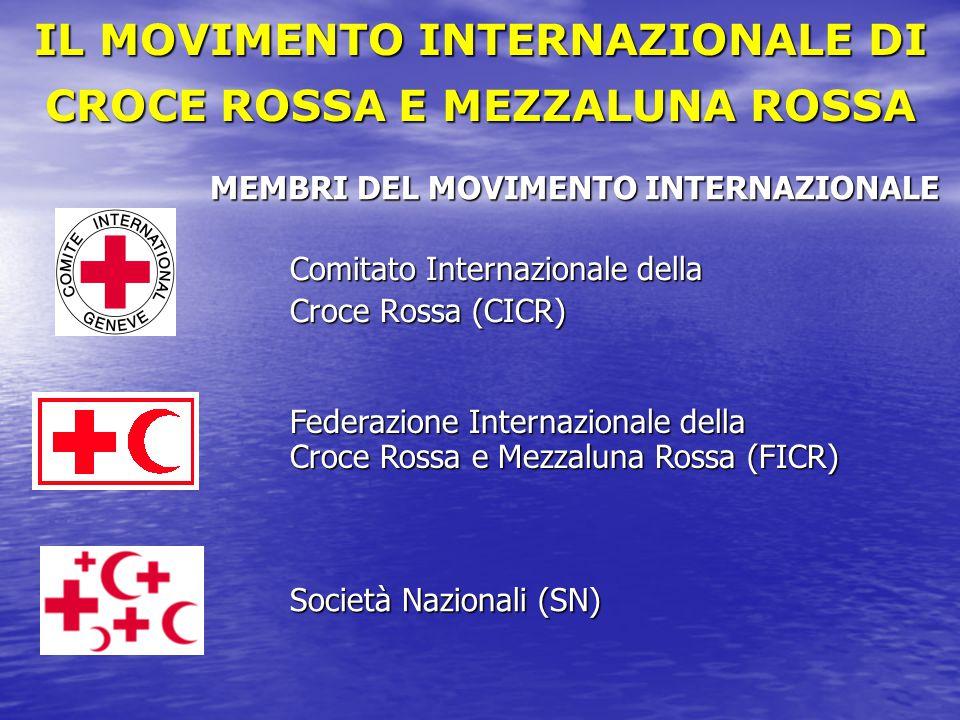 MEMBRI DEL MOVIMENTO INTERNAZIONALE Comitato Internazionale della Croce Rossa (CICR) Federazione Internazionale della Croce Rossa e Mezzaluna Rossa (F