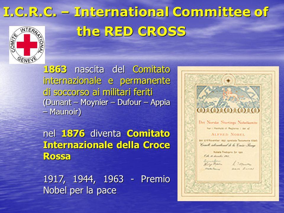 1863 nascita del Comitato internazionale e permanente di soccorso ai militari feriti (Dunant – Moynier – Dufour – Appia – Maunoir) nel 1876 diventa Co