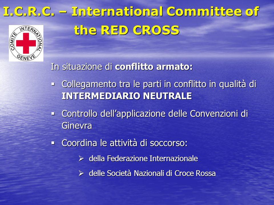 In situazione di conflitto armato:  Collegamento tra le parti in conflitto in qualità di INTERMEDIARIO NEUTRALE  Controllo dell'applicazione delle C