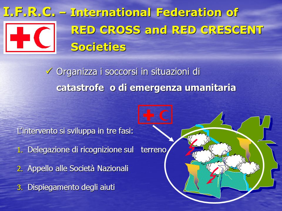 I.F.R.C. – International Federation of RED CROSS and RED CRESCENT RED CROSS and RED CRESCENT Societies Societies L'intervento si sviluppa in tre fasi: