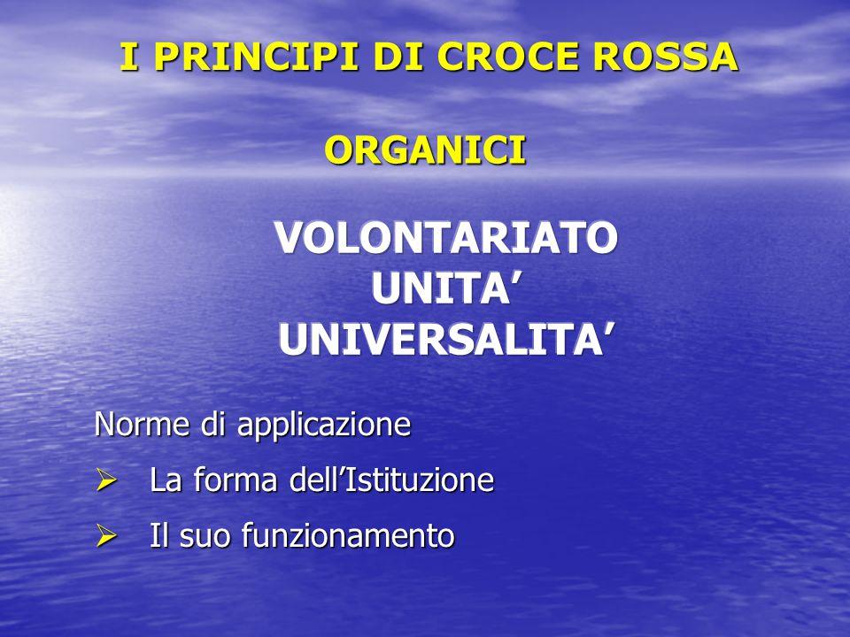 ORGANICI Norme di applicazione  La forma dell'Istituzione  Il suo funzionamento I PRINCIPI DI CROCE ROSSA