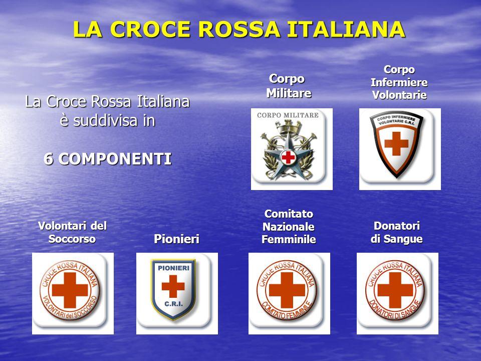 LA CROCE ROSSA ITALIANA CorpoMilitare Corpo Infermiere Volontarie Volontari del Soccorso Pionieri Comitato Nazionale Femminile Donatori di Sangue La C