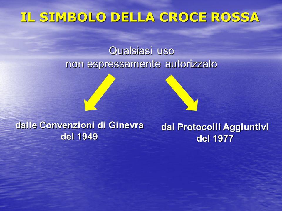 Qualsiasi uso non espressamente autorizzato dalle Convenzioni di Ginevra del 1949 dai Protocolli Aggiuntivi del 1977 IL SIMBOLO DELLA CROCE ROSSA