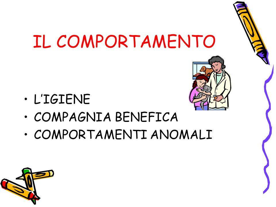 IL COMPORTAMENTO L'IGIENE COMPAGNIA BENEFICA COMPORTAMENTI ANOMALI