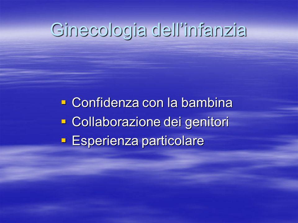 Ginecologia dell'infanzia  Confidenza con la bambina  Collaborazione dei genitori  Esperienza particolare