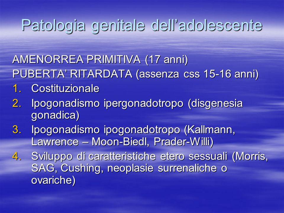 Patologia genitale dell'adolescente AMENORREA PRIMITIVA (17 anni) PUBERTA' RITARDATA (assenza css 15-16 anni) 1.Costituzionale 2.Ipogonadismo ipergona