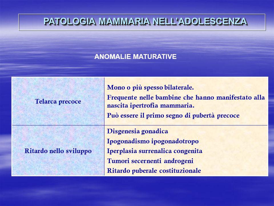 Telarca precoce Mono o più spesso bilaterale. Frequente nelle bambine che hanno manifestato alla nascita ipertrofia mammaria. Può essere il primo segn