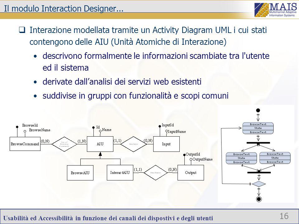 Usabilità ed Accessibilità in funzione dei canali dei dispostivi e degli utenti 16 Il modulo Interaction Designer...