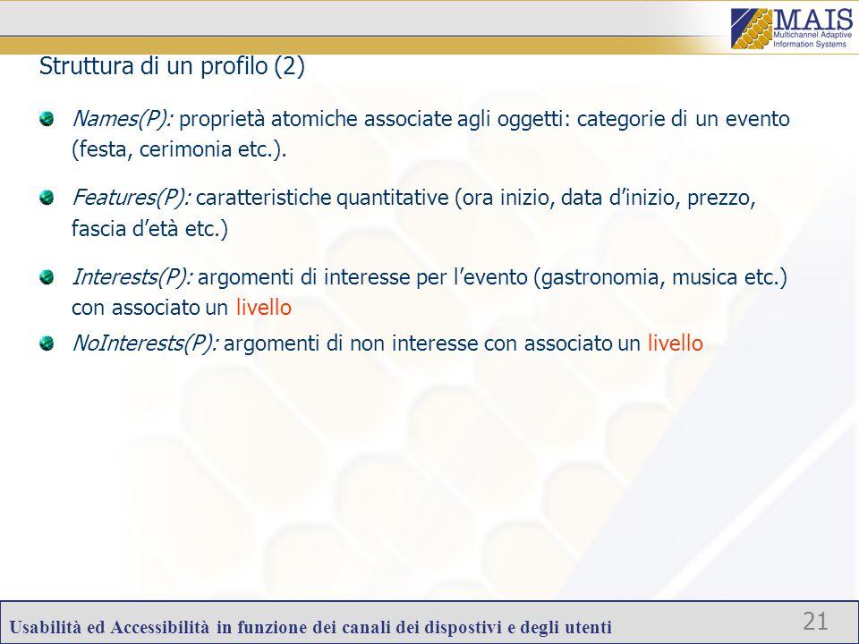 Usabilità ed Accessibilità in funzione dei canali dei dispostivi e degli utenti 21 Names(P): proprietà atomiche associate agli oggetti: categorie di un evento (festa, cerimonia etc.).