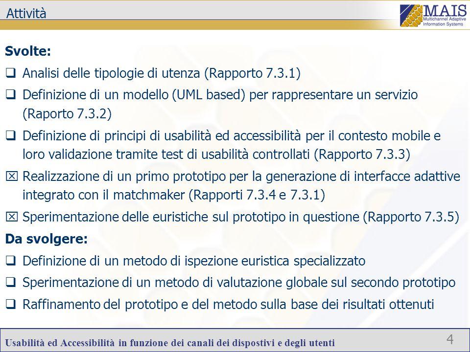 Usabilità ed Accessibilità in funzione dei canali dei dispostivi e degli utenti 4 Attività Svolte:  Analisi delle tipologie di utenza (Rapporto 7.3.1)  Definizione di un modello (UML based) per rappresentare un servizio (Raporto 7.3.2)  Definizione di principi di usabilità ed accessibilità per il contesto mobile e loro validazione tramite test di usabilità controllati (Rapporto 7.3.3)  Realizzazione di un primo prototipo per la generazione di interfacce adattive integrato con il matchmaker (Rapporti 7.3.4 e 7.3.1)  Sperimentazione delle euristiche sul prototipo in questione (Rapporto 7.3.5) Da svolgere:  Definizione di un metodo di ispezione euristica specializzato  Sperimentazione di un metodo di valutazione globale sul secondo prototipo  Raffinamento del prototipo e del metodo sulla base dei risultati ottenuti