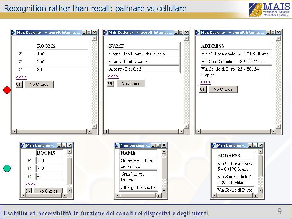 Usabilità ed Accessibilità in funzione dei canali dei dispostivi e degli utenti 9 Recognition rather than recall: palmare vs cellulare