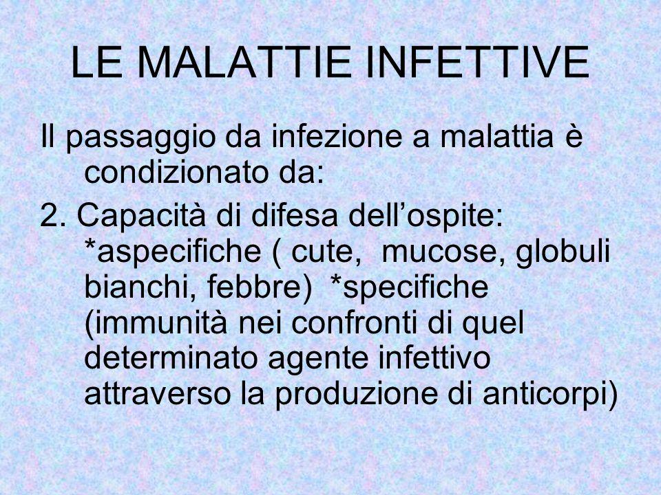 LE MALATTIE INFETTIVE Il passaggio da infezione a malattia è condizionato da: 2. Capacità di difesa dell'ospite: *aspecifiche ( cute, mucose, globuli