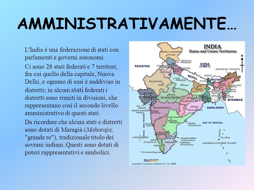 POSIZIONE GEOGRAFICA L'India si trova nel continente asiatico e confina a nord con la Cina e Nepal, a nord-est con il Bangladesh e con il Myanmar e ad Ovest con il Pakistan E' bagnata dal mare arabico ad ovest, dal oceano Indiano a sud e dal golfo del Bengala ad est.