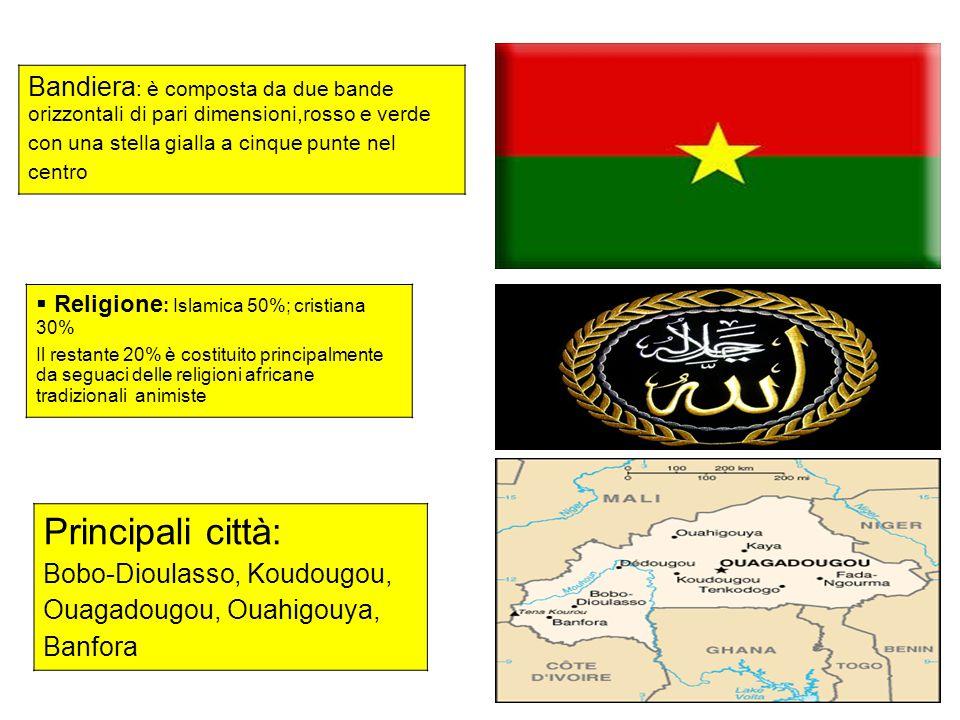 Bandiera : è composta da due bande orizzontali di pari dimensioni,rosso e verde con una stella gialla a cinque punte nel centro Principali città: Bobo