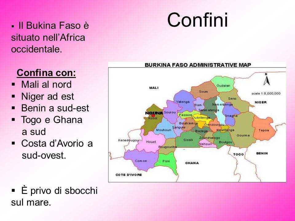  Il Bukina Faso è situato nell'Africa occidentale. Confina con:  Mali al nord  Niger ad est  Benin a sud-est  Togo e Ghana a sud  Costa d'Avorio