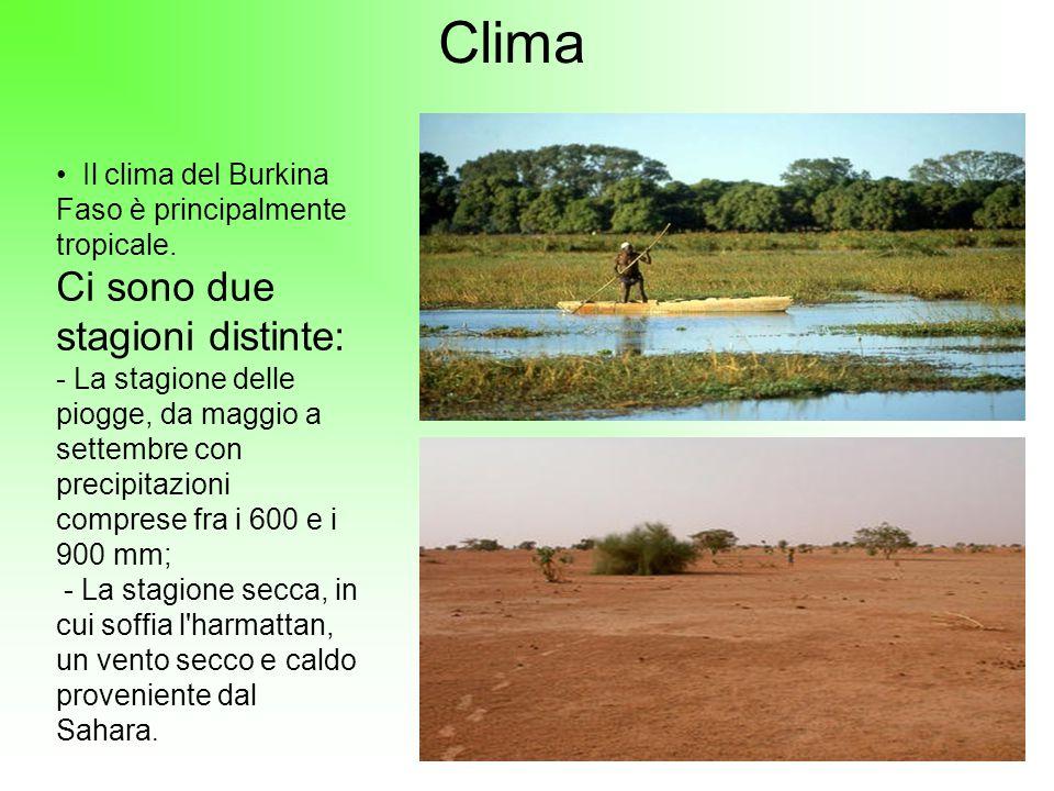 Clima Il clima del Burkina Faso è principalmente tropicale. Ci sono due stagioni distinte: - La stagione delle piogge, da maggio a settembre con preci