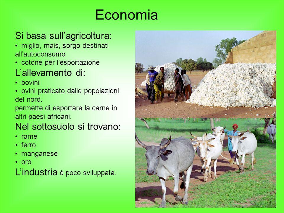 Economia Si basa sull'agricoltura: miglio, mais, sorgo destinati all'autoconsumo cotone per l'esportazione L'allevamento di: bovini ovini praticato da