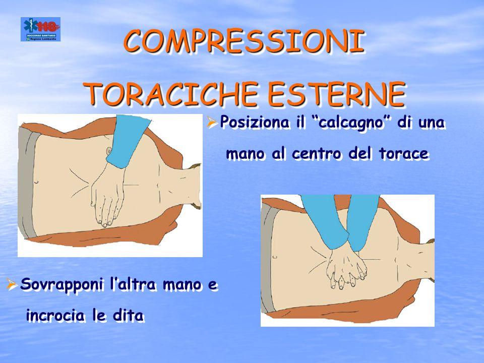 """COMPRESSIONI TORACICHE ESTERNE  Posiziona il """"calcagno"""" di una mano al centro del torace  Posiziona il """"calcagno"""" di una mano al centro del torace """