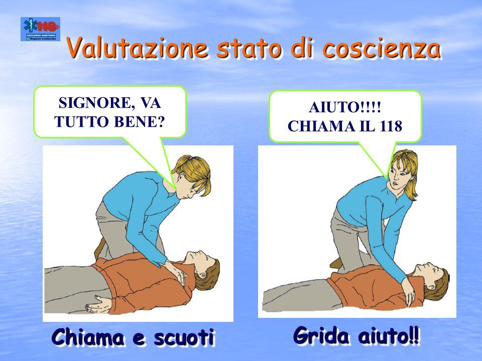 Se la vittima non è cosciente 1.Chiama il 118 2.Posiziona la vittima sul dorso 3.