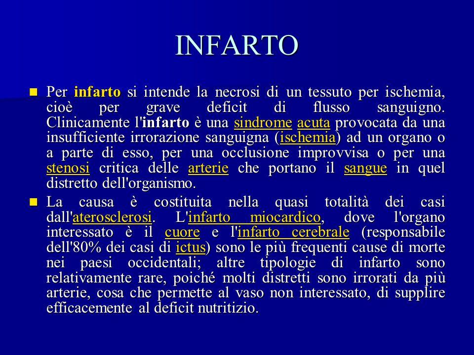 INFARTO Per infarto si intende la necrosi di un tessuto per ischemia, cioè per grave deficit di flusso sanguigno. Clinicamente l'infarto è una sindrom