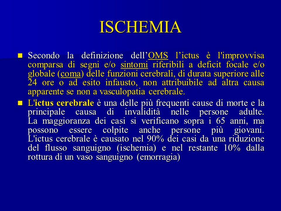 ISCHEMIA Secondo la definizione dell'OMS l'ictus è l'improvvisa comparsa di segni e/o sintomi riferibili a deficit focale e/o globale (coma) delle fun